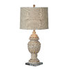 This item: Macon Gray and Cream Distressed One-Light 33-Inch Table Lamp