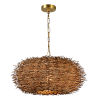 This item: Natural Wicker and Gold 23-Inch One-Light Chandelier