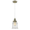 This item: Whitney Antique Brass Eight-Inch One-Light Mini Pendant with White Cord