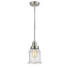 This item: Winchester Satin Nickel Eight-Inch One-Light Mini Pendant with Brown Cord