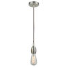 This item: Chelsea Satin Nickel One-Light Mini Pendant with Brown Cord