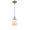 This item: Small Cone Antique Brass 3.5W LED Mini Pendant with Matte White Cased Glass