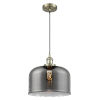 This item: X-Large Bell Antique Brass LED Pendant with Smoked Glass