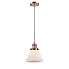 This item: X-Large Cone Antique Copper 12-Inch One-Light Pendant with Matte White Cased Cone Glass and Black Cord