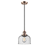 This item: Large Bell Antique Copper One-Light Mini Pendant with Seedy Dome Glass and Black Cord