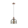 This item: Large Bell Antique Copper LED Mini Pendant with Silver Plated Mercury Glass