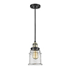 This item: Canton Black Antique Brass Six-Inch One-Light Mini Pendant with Clear Bell Glass and Black Cord