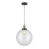 This item: Franklin Restoration Black Antique Brass 12-Inch LED Pendant with Clear Beacon Shade and Black Textured Cord