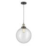 This item: Franklin Restoration Black Antique Brass 12-Inch One-Light Pendant with Seedy Beacon Shade and Black Textured Cord