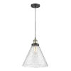 This item: X-Large Cone Black Antique Brass LED Pendant with Seedy Glass