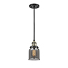 This item: Small Bell Black Antique Brass Five-Inch LED Mini Pendant with Smoked Bell Glass and Black Cord