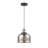 This item: Large Bell Black Antique Brass One-Light Mini Pendant with Silver Plated Mercury Glass