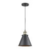 This item: Franklin Restoration Matte Black Antique Brass LED Mini Pendant with Appalachian Matte Black Metal Shade and Black Textured Cord