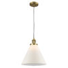 This item: X-Large Cone Brushed Brass LED Pendant with Matte White Cased Glass
