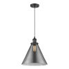 This item: X-Large Cone Matte Black One-Light Pendant with Smoked Glass
