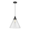 This item: X-Large Cone Matte Black One-Light Pendant with Seedy Glass