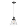 This item: Franklin Restoration Matte Black Eight-Inch LED Mini Pendant with Seedy Large Cone Shade and Black Textured Cord