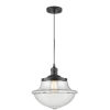 This item: Franklin Restoration Matte Black 12-Inch LED Pendant with Clear Large Oxford Shade and Black Textured Cord