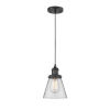 This item: Small Cone Matte Black One-Light Mini Pendant with Clear Glass