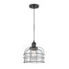 This item: Large Bell Cage Matte Black LED Mini Pendant with Clear Glass