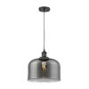 This item: X-Large Bell Matte Black LED Pendant with Smoked Glass