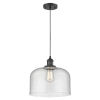 This item: X-Large Bell Matte Black One-Light Pendant with Seedy Glass