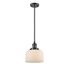This item: Large Bell Oiled Rubbed Bronze Eight-Inch LED Mini Pendant with Matte White Cased Dome Glass and Black Cord