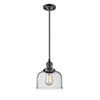This item: Large Bell Oiled Rubbed Bronze Eight-Inch LED Mini Pendant with Seedy Dome Glass and Black Cord
