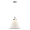 This item: X-Large Cone Polished Chrome One-Light Pendant with Matte White Cased Glass