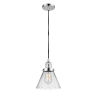 This item: Franklin Restoration Polished Chrome Eight-Inch LED Mini Pendant with Clear Large Cone Shade and Black Textured Cord