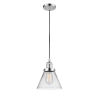 This item: Large Cone Polished Chrome One-Light Mini Pendant with Seedy Glass