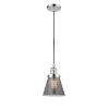 This item: Small Cone Polished Chrome One-Light Mini Pendant with Smoked Glass