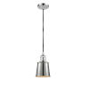 This item: Franklin Restoration Polished Chrome One-Light Mini Pendant with Addison Polished Chrome Metal Shade and Black Textured Cord