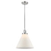 This item: X-Large Cone Polished Nickel LED Pendant with Matte White Cased Glass