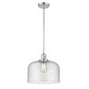 This item: X-Large Bell Polished Nickel LED Pendant with Seedy Glass