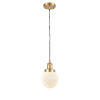 This item: Franklin Restoration Satin Gold Six-Inch One-Light Mini Pendant with Matte White Cased Beacon Shade and Black Textured Cord