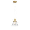 This item: Franklin Restoration Satin Gold Eight-Inch LED Mini Pendant with Seedy Large Cone Shade and Black Textured Cord