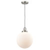 This item: Franklin Restoration Brushed Satin Nickel 10-Inch LED Pendant with Matte White Cased Beacon Shade and Black Textured Cord