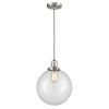 This item: Franklin Restoration Brushed Satin Nickel 10-Inch One-Light Pendant with Clear Beacon Shade and Black Textured Cord