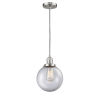 This item: Franklin Restoration Brushed Satin Nickel Eight-Inch One-Light Mini Pendant with Clear Beacon Shade and Black Textured Cord