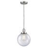 This item: Franklin Restoration Brushed Satin Nickel Eight-Inch LED Mini Pendant with Seedy Beacon Shade and Black Textured Cord