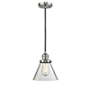 This item: Large Cone Brushed Satin Nickel Eight-Inch LED Mini Pendant with Clear Cone Glass and Black Cord