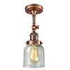 This item: Small Bell Antique Copper 14-Inch LED Semi Flush Mount with Seedy Bell Glass