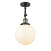 This item: Franklin Restoration Black Antique Brass 16-Inch LED Semi-Flush Mount with Large Matte White Cased Beacon Shade