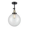 This item: Franklin Restoration Black Antique Brass 16-Inch One-Light Semi-Flush Mount with Clear Beacon Shade