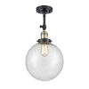 This item: Franklin Restoration Black Antique Brass 16-Inch One-Light Semi-Flush Mount with Seedy Beacon Shade