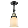 This item: Small Bell Black Antique Brass LED Semi Flush Mount with Matte White Cased Bell Glass