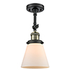 This item: Small Cone Black Antique Brass LED Semi Flush Mount with Matte White Cased Cone Glass