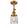 This item: Small Bell Brushed Brass 14-Inch One-Light Semi Flush Mount with Clear Bell Glass