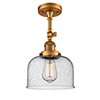 This item: Large Bell Brushed Brass 14-Inch LED Semi Flush Mount with Seedy Dome Glass